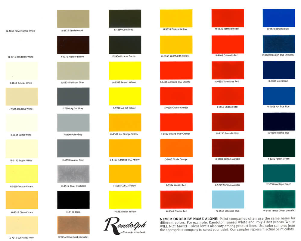 Color chart from aircraft spruce randolph color chart from aircraft spruce nvjuhfo Image collections