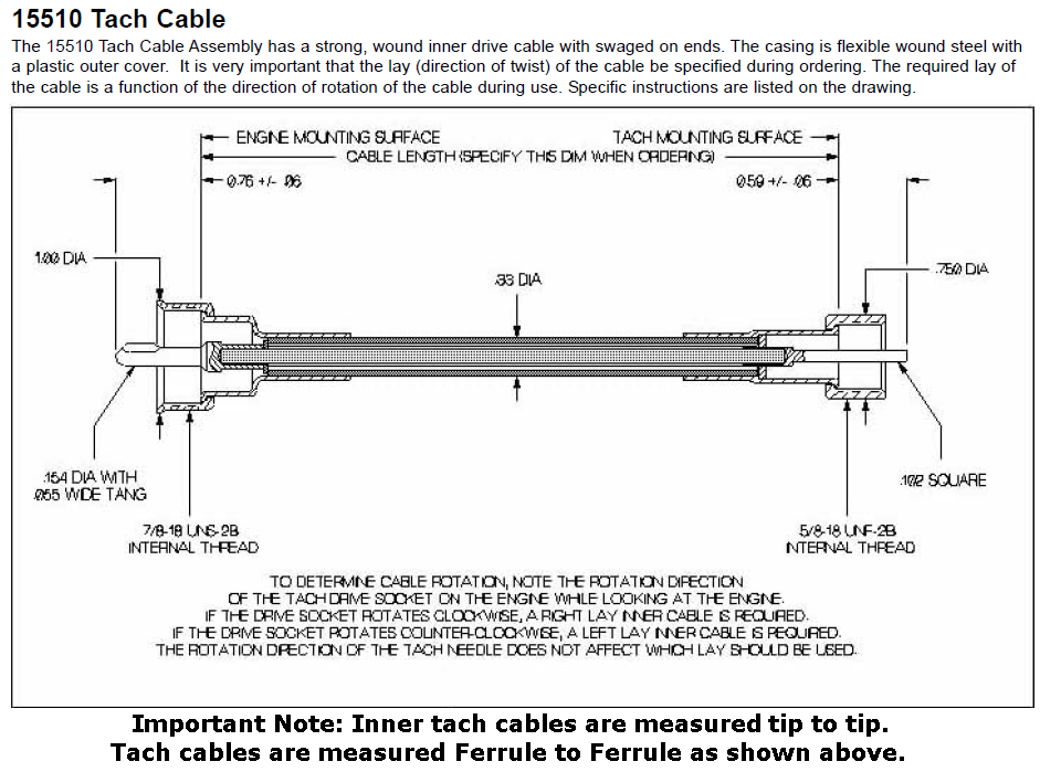 tachometer cables from aircraft spruce reference chart