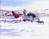 chipping ice greeting card - Aviation Christmas Cards