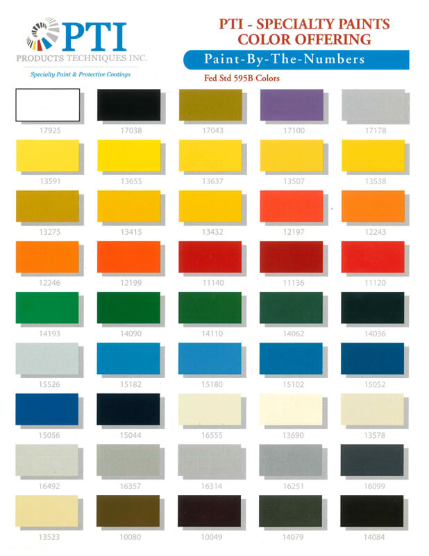 Pti Specialty Paint Color Chart From Aircraft Spruce