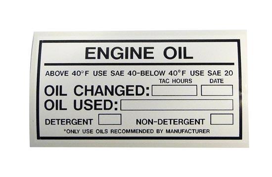ENGINE OIL PLACARD
