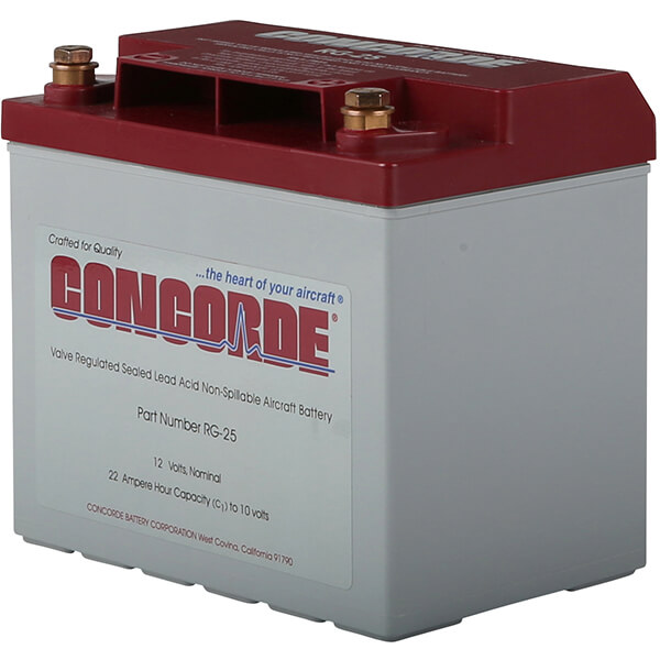 CONCORDE RG-25 SEALED LEAD ACID AIRCRAFT BATTERY