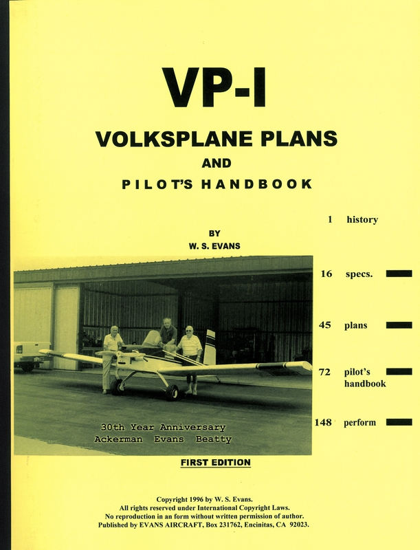 VP 1 VOLKSPLANE PLANS AND PILOTS HANDBOOK