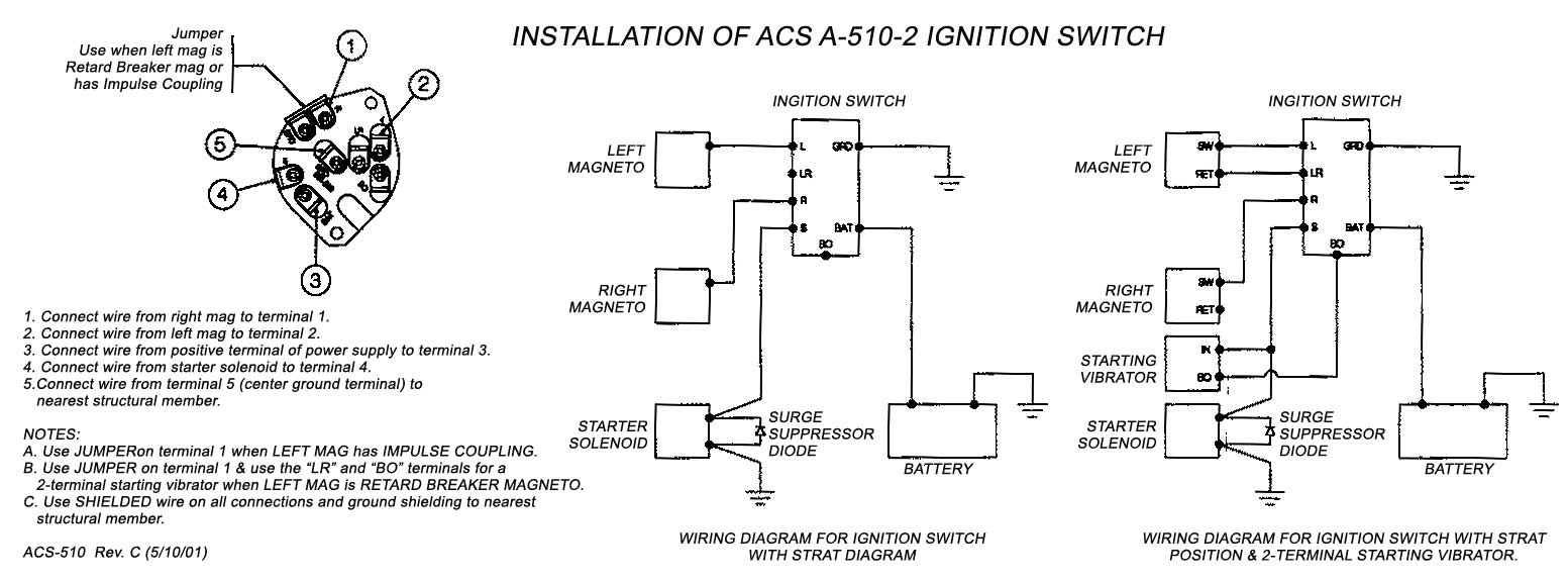 Acs Keyed Ignition Switch With Start Position A 510 2 Faa Pma From Two Battery Wiring Diagram Installation